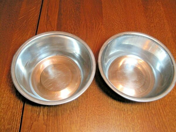 Pair of Stainless Dog Dishes 6quot; inside Diameter amp; 2 3 8quot; tall. For Food amp; Water $13.56