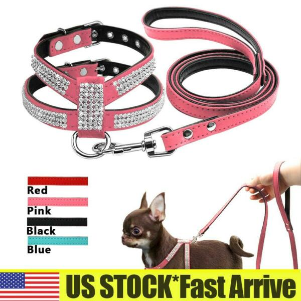 Bling Rhinestone Pets Dog Collars and Leads Leash for Small Medium Dog Puppy S L $12.09