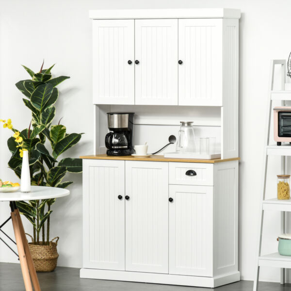71quot; Modern Freestanding Kitchen Pantry Cabinet with Adjustable Shelves amp; Drawer