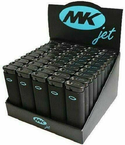 Tray of 50 Ct MK JET BLACK TORCH Big Full Size Lighters Refillable Windproof
