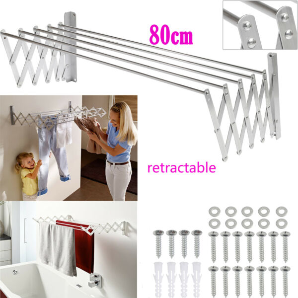 Retractable Wall mounted Clothes Drying Rack Dryer Rack Laundry Room Bathroom US $36.08