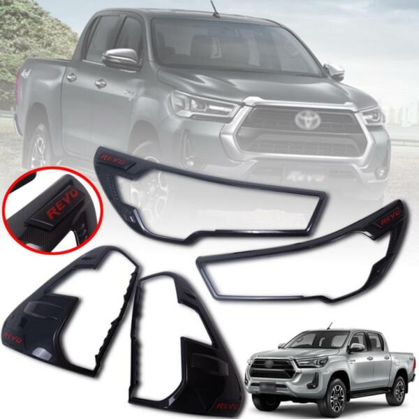 Cover Head Lamp Tail Light Black Carbon For Toyota Hilux Revo 4WD 2020 2021 $83.39