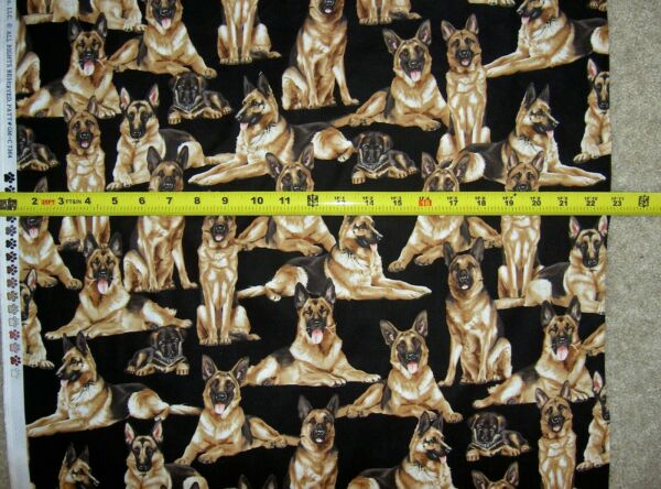 German Shepherd Dog Dogs 7364 Black Multi Timeless Durable Cotton Fabric $9.49