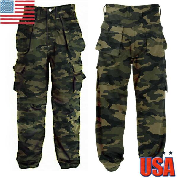 US Mens Sport Army Military Cargo Combat Trousers Camo Camouflage Tactical Pants
