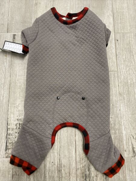 HOTEL DOGGY GRAY QUILTED FLEECE LINED quot;PAJAMAS JUMPSUITquot; Puppy Dog LARGE $28.50