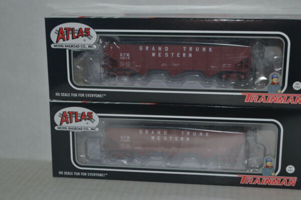 2 Atlas Grand Trunk Western GTW AAR 70 Ton 9 Panel Hopper Arched End Ho Scale $47.99
