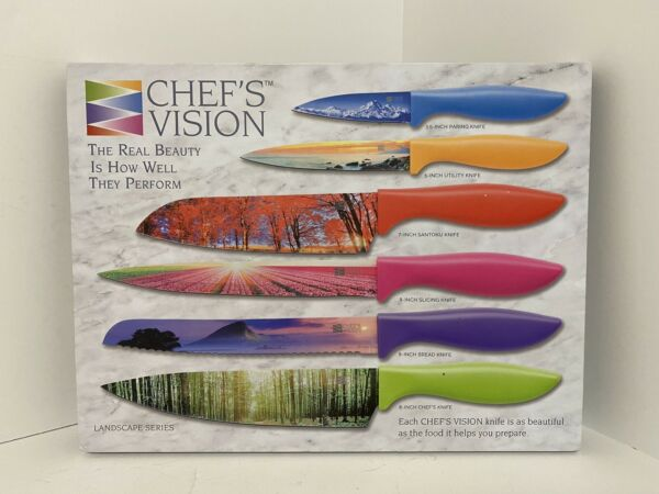Chef#x27;s Vision 6 Piece Kitchen Knife Set in Gift Box Landscape Series