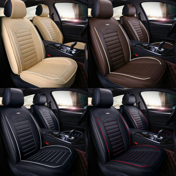 Car 5 Seat Covers Full Set Waterproof Leather Universal for Auto Sedan SUV Truck $77.99