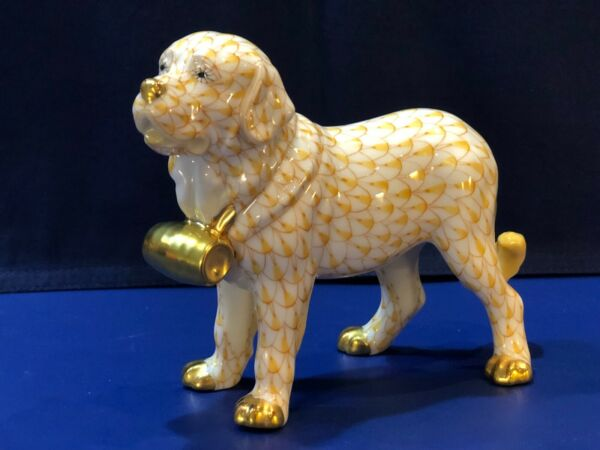 Herend Dog St. Bernard w Puncheon Butterscotch Fishnet $265.00