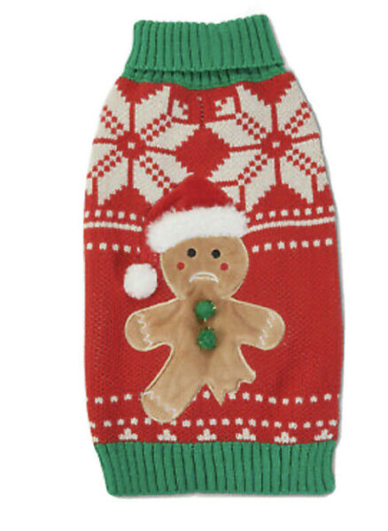 HOLIDAY TAILS RED CHRISTMAS quot;GINGERBREADquot; SWEATER Puppy Dog XLARGE NWT $22.50