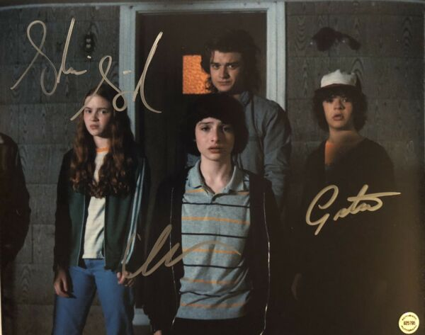 Stranger Things Cast X 3 Original Autographs Hand signed 8x10 w Holo COA