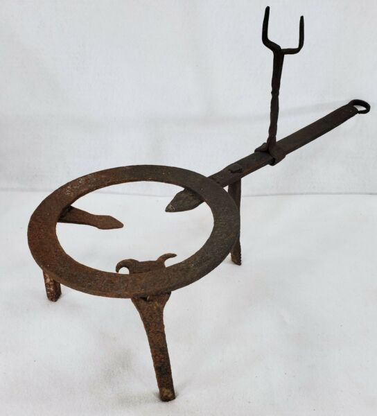 Large 18th c. Antique Wrought Iron Blacksmith Forged Fireplace Hearth Trivet