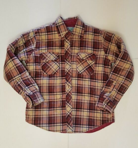 Vintage Outdoor Exchange Flannel jacket button Quilted Lined Mens Size Large Red $37.94