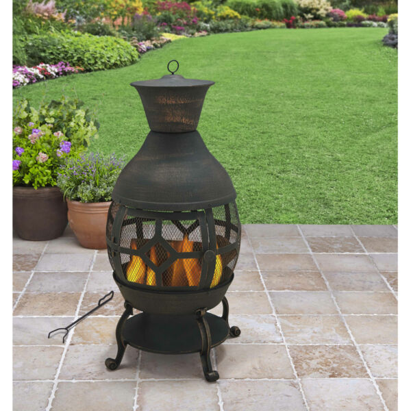 Outdoor Chiminea Fire Pit Rustic Cast Iron Patio Fireplace Antique Bronze New..