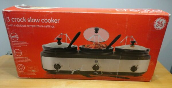 ✰GE General Electric 3 Crock Slow Cooker in Box 2.5 qt EACH NOT USED #898680