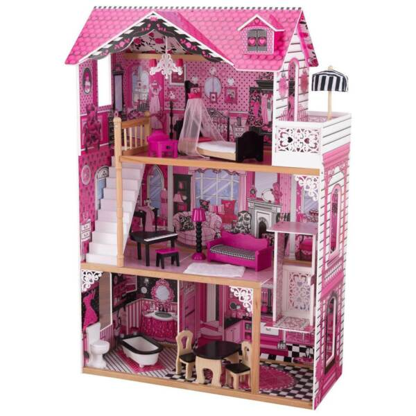 KidKraft Wooden Amelia Pretend Play Dollhouse w Furniture for Age 3 Open Box $98.69
