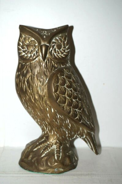 Vintage Brass Wise Owl Figurine or Paperweight