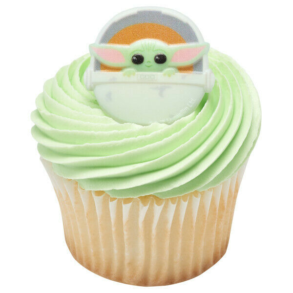 Baby Yoda The Mandalorian Cupcake Topper Rings Set of 12