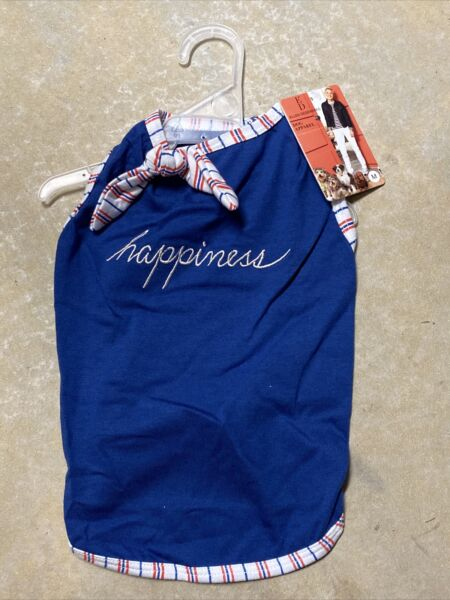 ELLEN DEGENERES BLUE STRIPE NECK TIE quot;HAPPINESSquot; Dress Puppy Dog MEDIUM $16.50