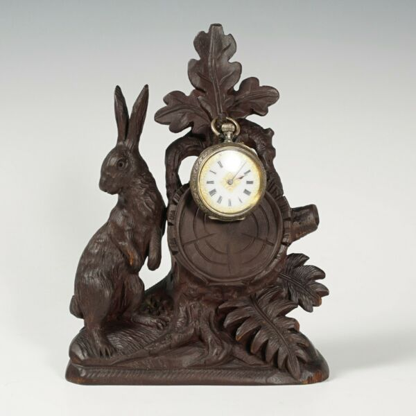 Antique Black Forest Hand Carved Wood Pocket Watch Holder Display Stand Rabbit