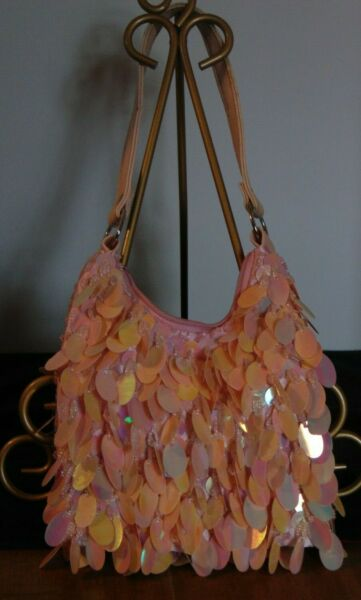 Cute Small Pink Iridescent Sequins and Beads Little Girl Purse Made in China $20.25