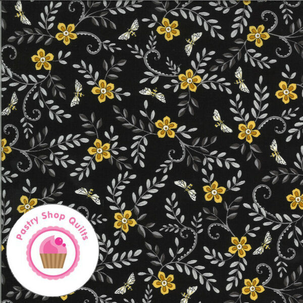 Moda BEE GRATEFUL 19964 15 Enony Black Floral DEB STRAIN Quilt Fabric