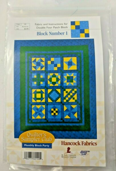 NIP Hancock Fabric Monthly Block Party Quilters Sampler Club 12 #1 blocks NEW
