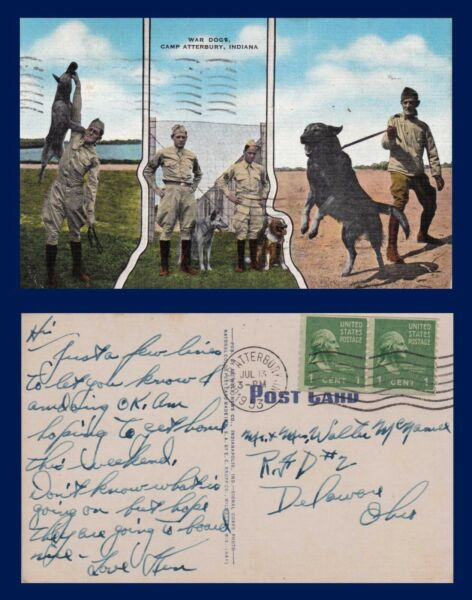 MILITARY POLICE DOGS CAMP ATTERBURY INDIANA POSTED 1953 TO DELAWARE OHIO $17.99