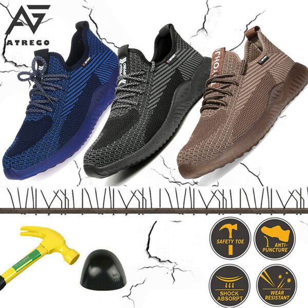 US Mens Work Safety Shoes Steel Toe Bulletproof Boots Indestructible Sneakers D $31.27