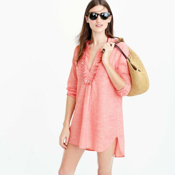 J Crew tassel Pink coral Beach Tunic cotton Linen cover up sz XS $21.99