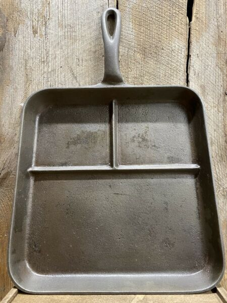 Antique Cast Iron 3 Section Square Pan Griddle N On Bottom Cleaned amp; Seasoned