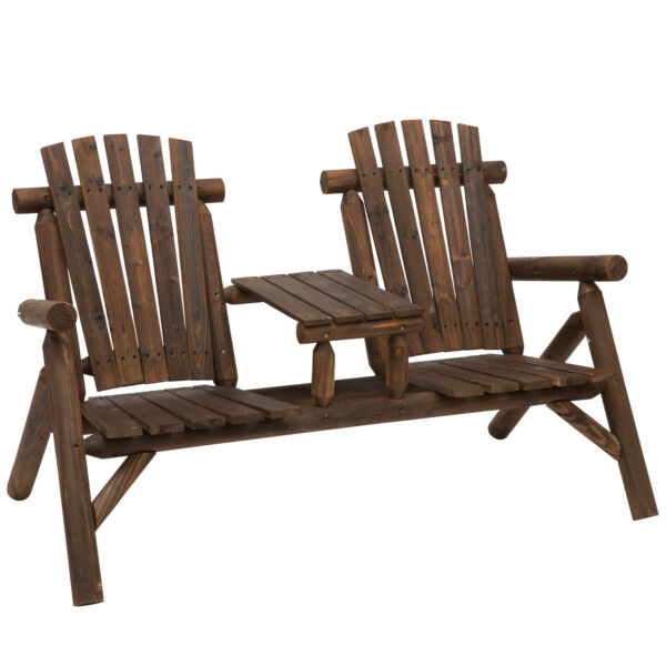 Outdoor Wood Adirondack Bench Chair with Center Table Patio Garden Loveseat