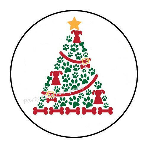 30 DOG CHRISTMAS TREE ENVELOPE SEALS LABELS STICKERS PARTY FAVORS 1.5quot; ROUND $1.96
