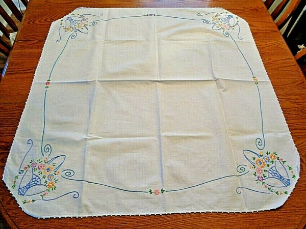 Vintage 32quot;X32quot; Table Topper Runner W Blue Floral Baskets 1 4quot;White Crochet EUC
