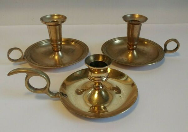 Lot Of 3 Vintage Brass Candlestick Holders Chamber Tapered Home Wedding Decor