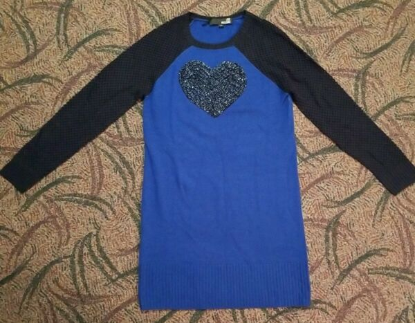 Love Moschino Blue Sweater Dress W Beaded Heart Size Small NWOT $30.00