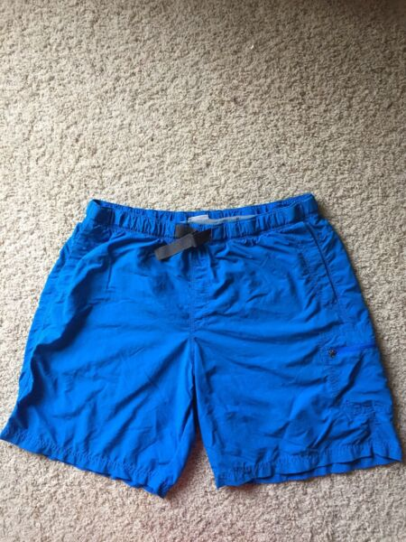 Columbia Omni Shade Men's Blue Belted Nylon Hiking Shorts XL
