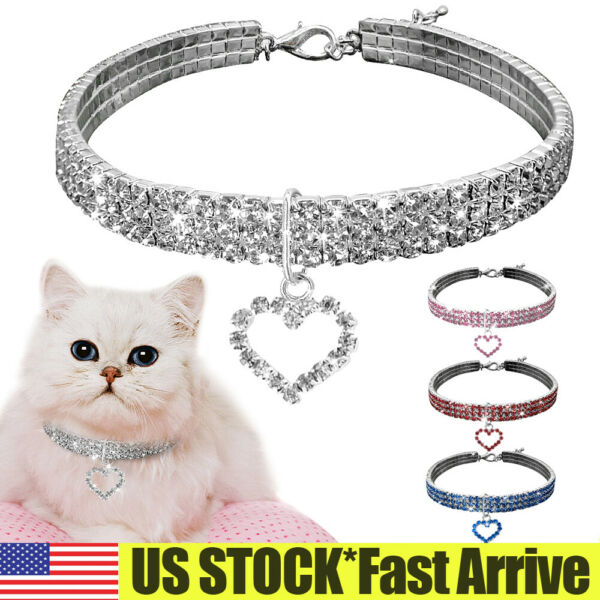 Pet Dog Rhinestone Crystal Collars Kitten Cat Puppy Necklace With Heart Pendant $5.69