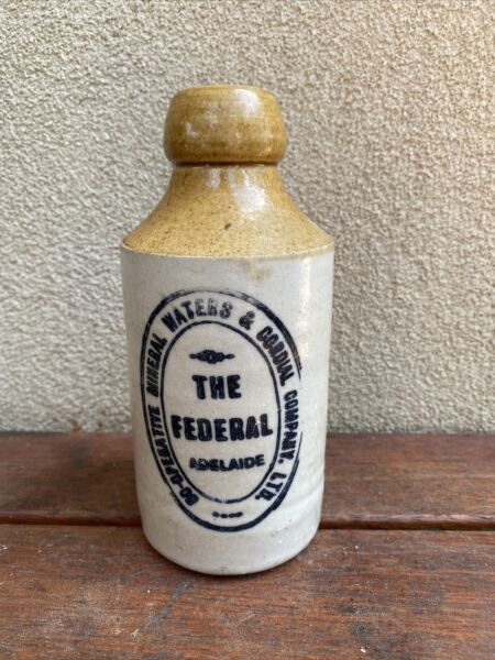 Nice Old Federal Adelaide South Australia Ginger Beer Bottle by Bendigo Pottery