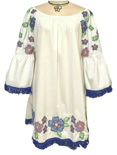 Womens Plus Dress 3X New White Peasant Tunic Embroidered 22 24 Spring Deal NWT $19.99