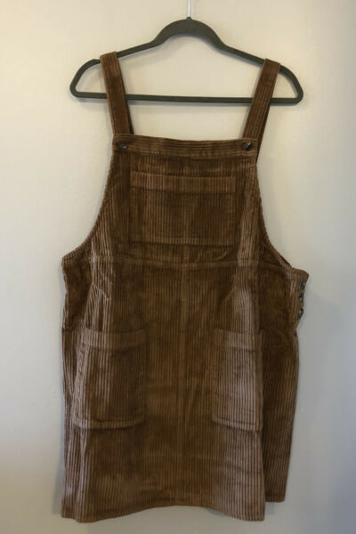 Wild Fable Corduroy Burlap Brown Jumper Overall Dress 90s Y2K Style XXL Tan