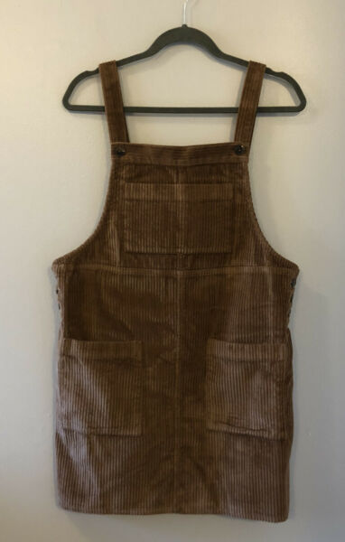 Wild Fable Corduroy Burlap Brown Jumper Overall Dress 90s Y2K Style Medium M Tan