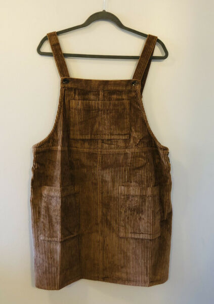 Wild Fable Corduroy Burlap Brown Jumper Overall Dress 90s Y2K Style XL Tan