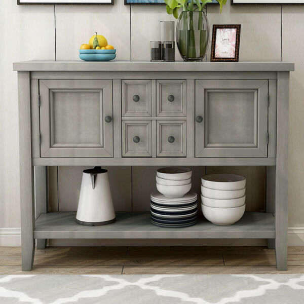 Entryway Wood Sideboard Buffet Accent Console Table w Shelf 4 Drawers 2 Cabinet