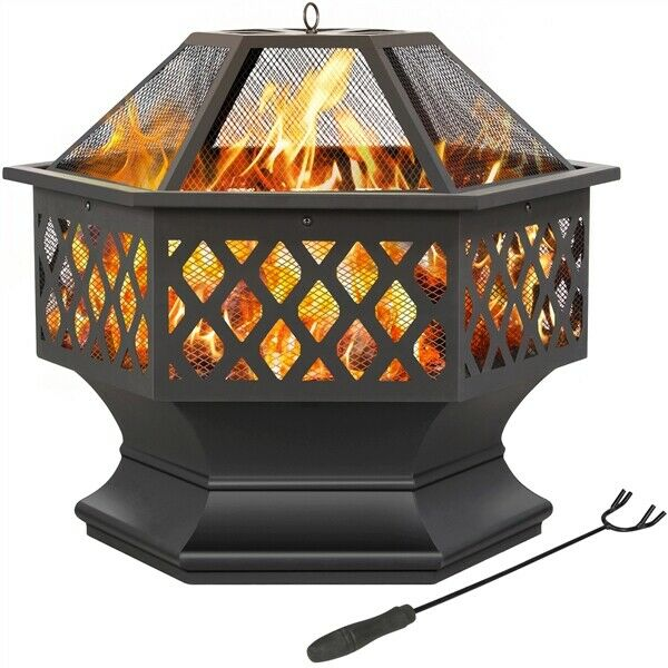 Outdoor Fire Pit Hexagon Shape Fireplace for BBQ Patio Backyard Used