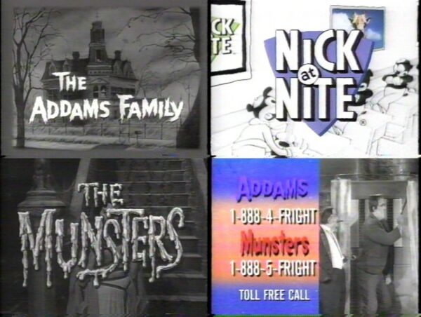Nick at Nite Halloween marathon Addams Family Munsters commercials 1996 from VHS