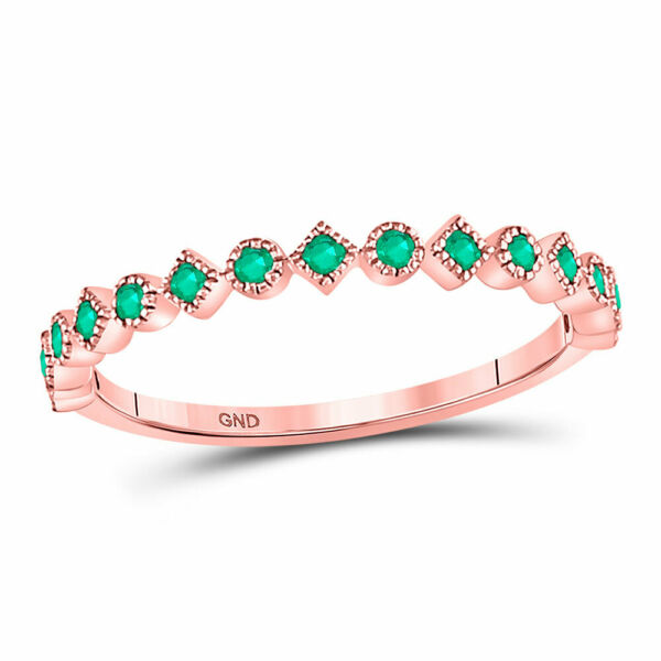 10kt Rose Gold Womens Round Emerald Square Dot Stackable Band Ring 1 5 Cttw $198.89