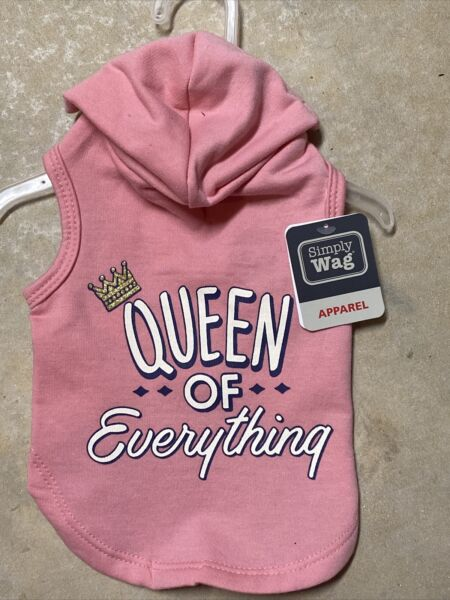 SIMPLY WAG Pink quot;QUEEN OF EVERYTHINGquot; Hoodie Puppy Dog small $16.50