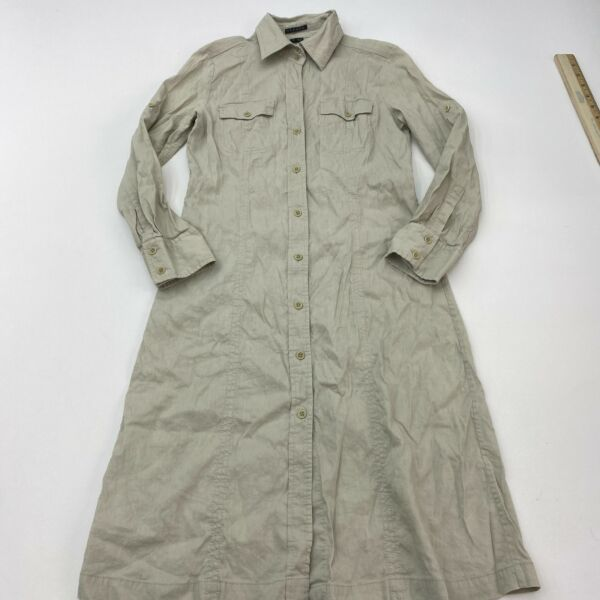 Theory Shirt Dress Sz 6 Khaki Tan Long Sleeve Button Up Linen Stretch Pockets $34.99
