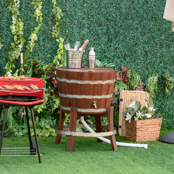 Outdoor Western Style Wood Backyard Cooler w Foldable Flip Cover amp; Drain Faucet $189.99